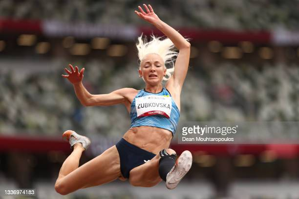 Oksana Zubkovska of Team Ukraine competes in Women's Long Jump - T12 final on day 5 of the Tokyo 2020 Paralympic Games at Olympic Stadium on August...