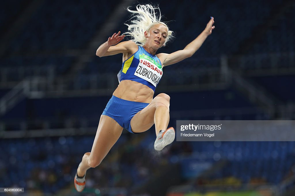 Oksana Zubkovska of Ukraine competes in the Women's Long Jump - T12 Final on day 6 of the Rio 2016 Paralympic Games at the Olympic Stadium on September 13, 2016 in Rio de Janeiro, Brazil.