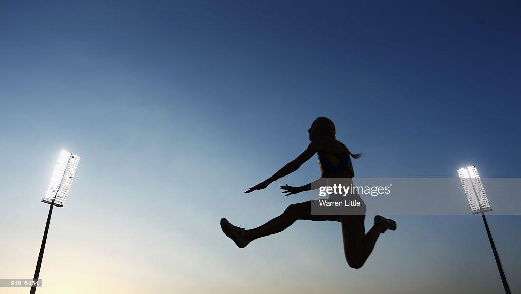 Oksana Zubkovska of Ukraine competes in the women's long jump T12 final during the Evening Session on Day Eight of the IPC Athletics World Championships at Suhaim Bin Hamad Stadium on October 29, 2015 in Doha, Qatar.