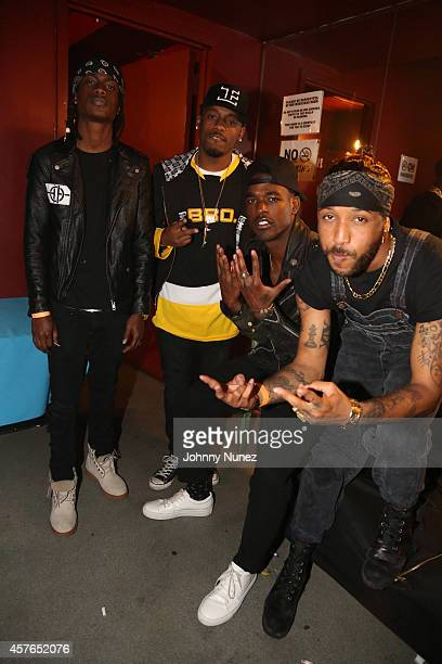 Oktane and Pricetag aka hip hop duo Audio Push, pose with singers Luke James and Ro James at S.O.B.'s on October 21 in New York City.