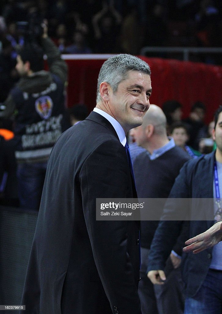 Oktay Mahmuti Head Coach of Anadolu Efes at the end of the 2012-2013 Turkish Airlines Euroleague Top 16 Date 8 between Anadolu EFES Istanbul v CSKA Moscow at Abdi Ipekci Sports Arena on February 22, 2013 in Istanbul, Turkey.