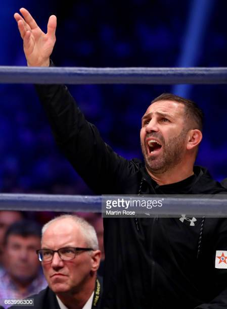 Oktay Urkal coach of Marco Huck of Germany reacts during their WBC Cruiserweight World Championship title fight at Westfalenhalle on April 1 2017 in...