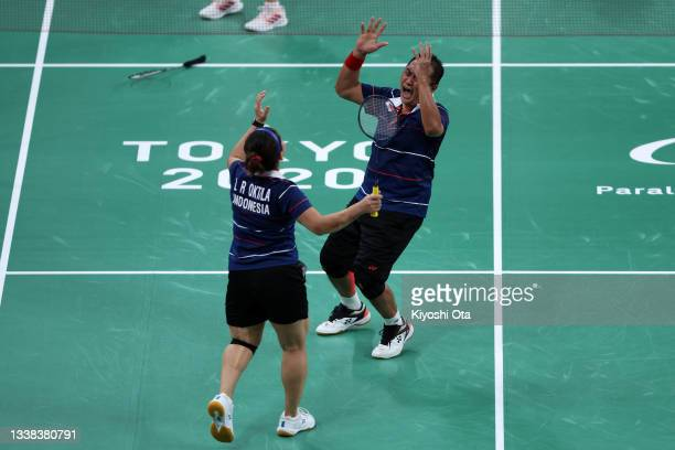 Oktila Leani Ratri and Susanto Hary of Team Indonesia celebrate winning the Badminton Mixed Doubles SL3-SU5 Gold Medal Match against Noel Faustine...