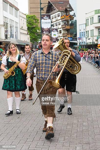oktoberfest 2015 - blumenau - brazil - tubular bells stock pictures, royalty-free photos & images