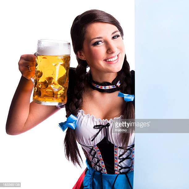 Oktoberfest Bavarian girl with beer