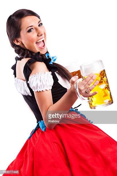 Oktoberfest Bavarian girl with beers