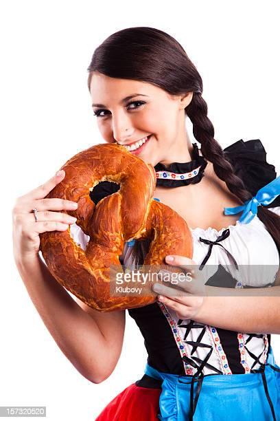 Oktoberfest Bavarian girl with pretzel