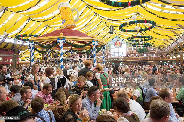 oktoberfest beer tent - theresienwiese stock pictures, royalty-free photos & images