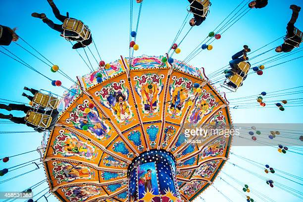 oktoberfest carousel - spinning stock pictures, royalty-free photos & images