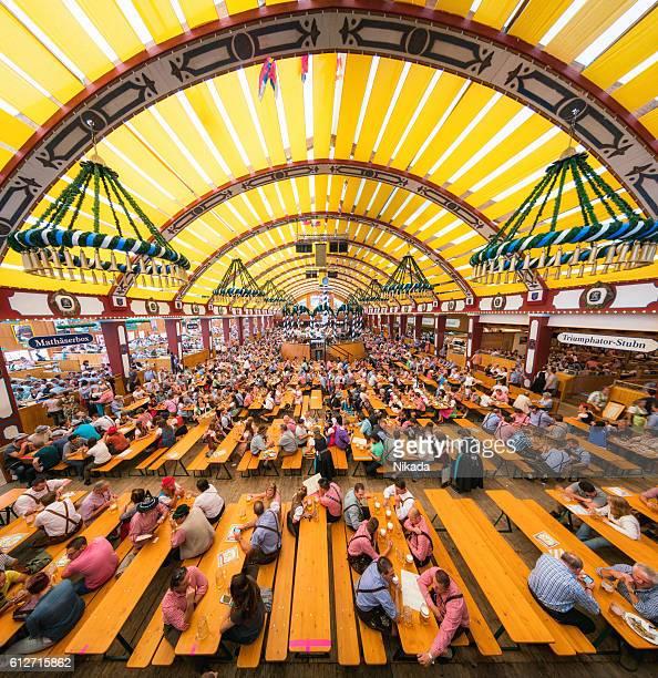Oktoberfest in Munich, Loewenbraeu brewery's festive tent