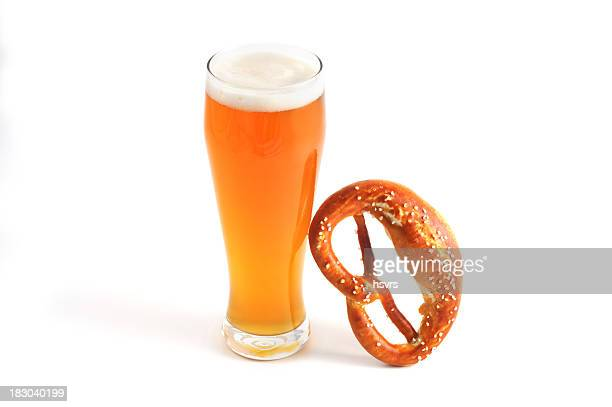 Oktoberfest objects like glass of wheat beer and Pretzel