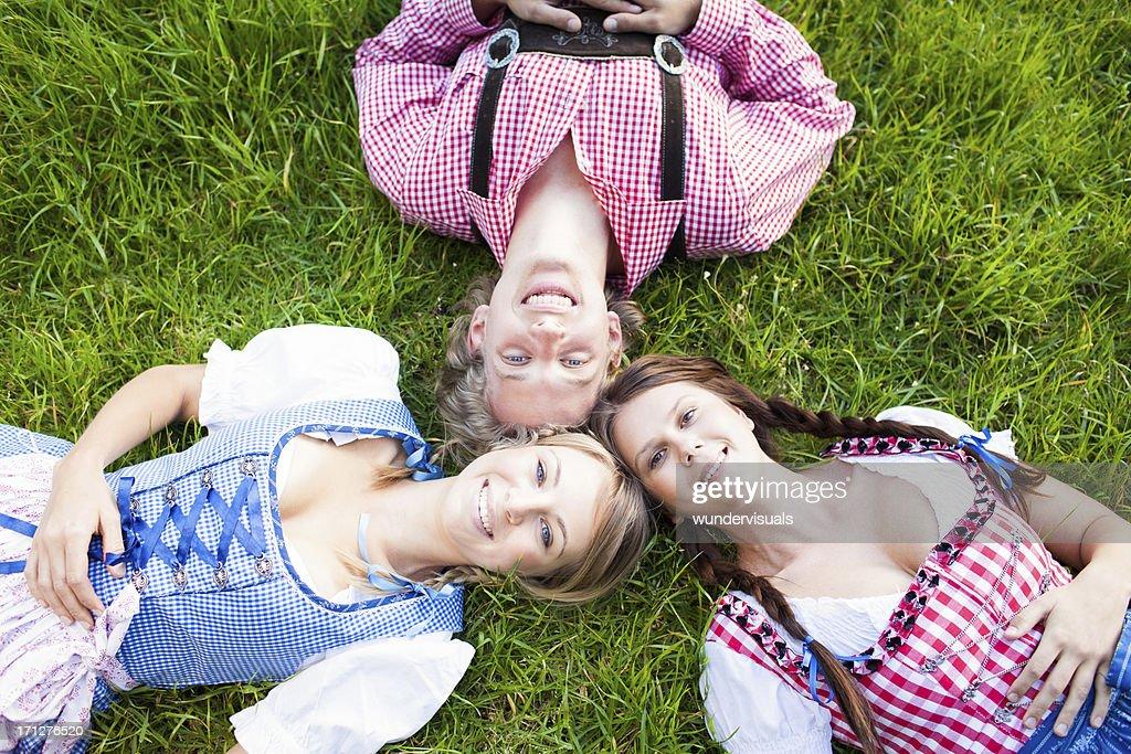 Oktoberfest visitors having fun : Stock Photo