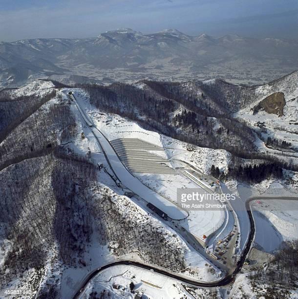 Okurayama Jump Stadium is seen ahead of the 1972 Sapporo Winter Olympics in 1972 in Sapporo Hokkaido Japan