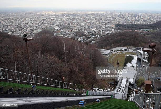 Okurayama Jump Stadium where was the Ski Jumping venue at 1972 Sapporo Winter Olympics is seen with Sapporo city on November 27 2014 in Sapporo...