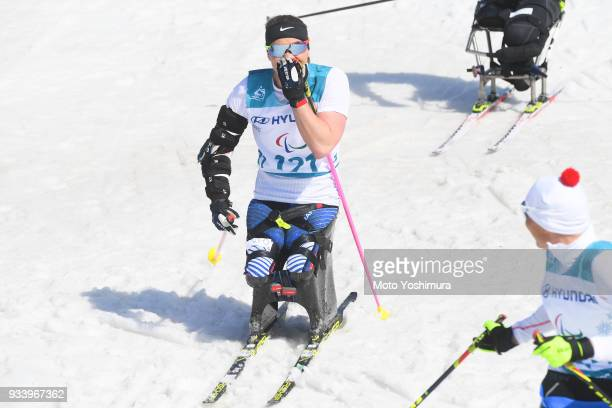 Okusana Masters of the United States celebrates winning the gold in the CrossCountry Women's 11km Sprint Sitting on day five of the PyeongChang 2018...