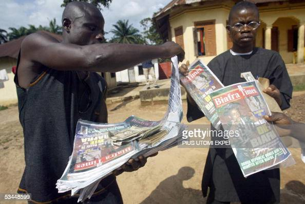 A vendor sells Biafran newspapers and magazines in outlawed Biafran