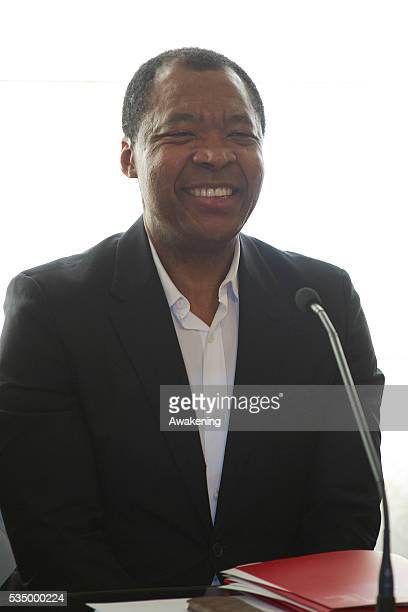 Okwui Enwezori during the press conference at Ca Giustiniani La Biennale Headquarters on October 22 2014 in Venice Italy Okwui has been appointed...
