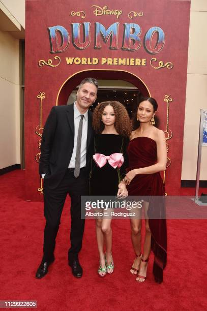 Ol Parker actors Nico Parker and Thandie Newton attend the World Premiere of Disney's Dumbo at the El Capitan Theatre on March 11 2019 in Los Angeles...