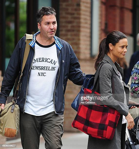 Ol Parker and Thandie Newton are seen in Tribeca on May 24 2014 in New York City