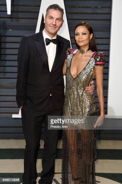 Ol Parker and Thandie Newton attend the 2017 Vanity Fair Oscar Party hosted by Graydon Carter at Wallis Annenberg Center for the Performing Arts on...