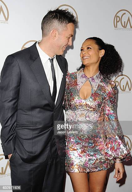 Ol Parker and Thandie Newton attend the 28th annual Producers Guild Awards at The Beverly Hilton Hotel on January 28 2017 in Beverly Hills California