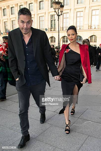 Ol Parker and wife Thandie Newton attend the Schiaparelli Haute Couture Spring Summer 2017 show as part of Paris Fashion Week on January 23 2017 in...