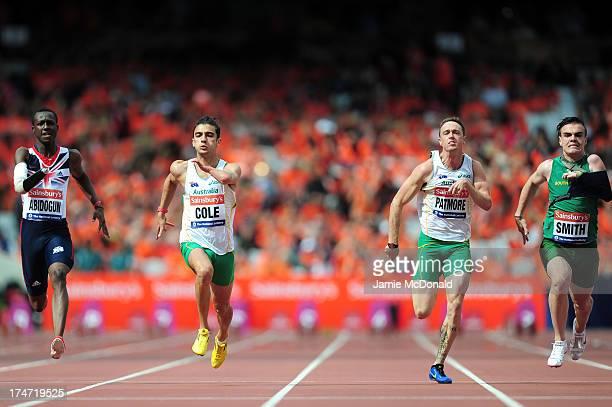 Ola Abidogun of Great Britain Gabriel Cole of Australia Simon Patmore of Australia and Zivan Smith of South Africa compete in the Men's T46 100m...