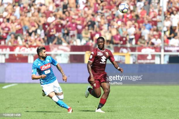Ola Aina and Elseid Hysaj during the Serie A football match between Torino FC and SSC Napoli at Olympic Grande Torino Stadium on September 23 2018 in...