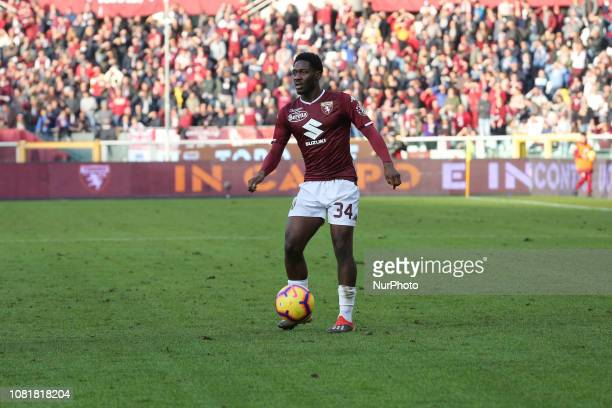 Ola Aina during the Tim Cup football match between Torino FC and ACF Fiorentina at Olympic Grande Torino Stadium on January 13 2019 in Turin Italy...