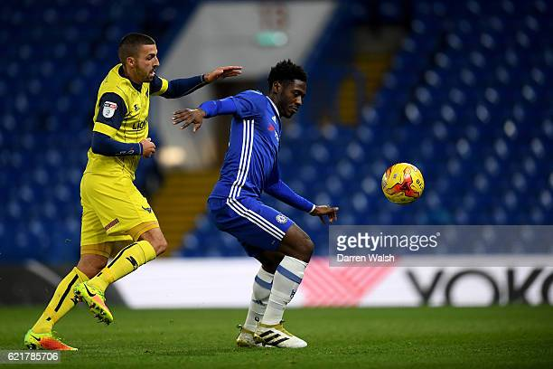Ola Aina of Chelsea and Liam Sercombe of Oxford United during a Checkatrade Trophy match between Chelsea and Oxford United at Stamford Bridge on...