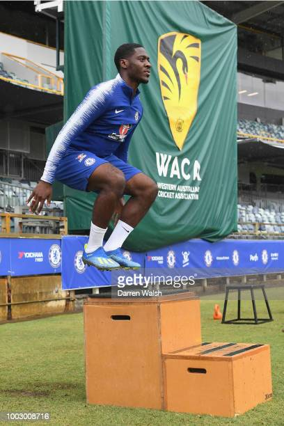 Ola Aina of Chelsea during a training session on July 21 2018 at the WACA in Perth Australia