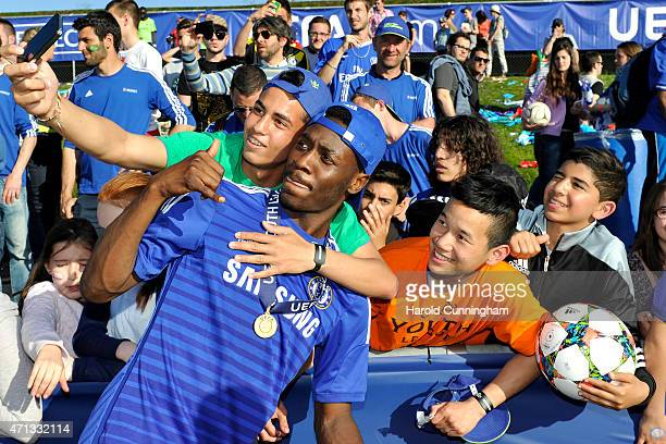 Ola Aina of Chelsea FC celebrates his team victory after the UEFA Youth League final match between FC Shakhtar Donetsk and Chelsea FC at Colovray on...