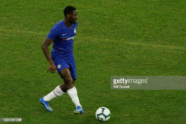 Ola Aina of Chelsea looks to pass the ball during the international friendly between Chelsea FC and Perth Glory at Optus Stadium on July 23 2018 in...