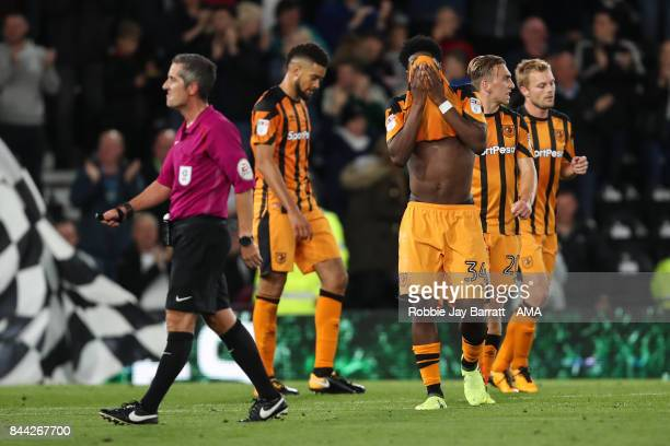 Ola Aina of Hull City dejected after conceding a goal to make ti 40 during the Sky Bet Championship match between Derby County and Hull City at iPro...