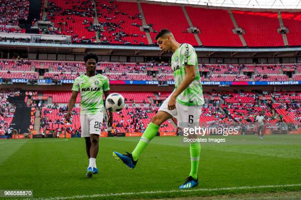 Ola Aina of Nigeria Leon Balogun of Nigeria during the International Friendly match between England v Nigeria at the Wembley Stadium on June 2 2018...