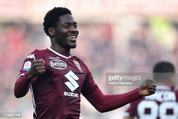 Ola Aina of Torino FC celebrates the opening goal during the Serie A match between Torino FC and Udinese at Stadio Olimpico di Torino on February 10,...