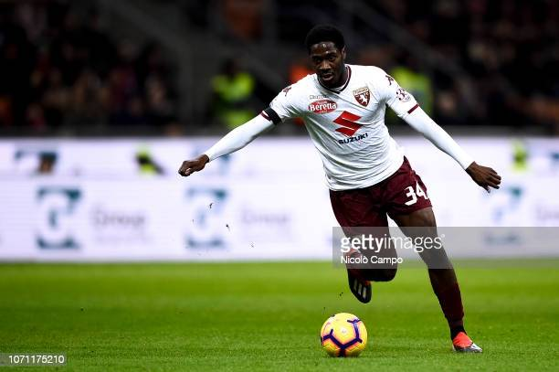 Ola Aina of Torino FC in action during the Serie A football match between AC Milan and Torino FC The match ended in a 00 tie