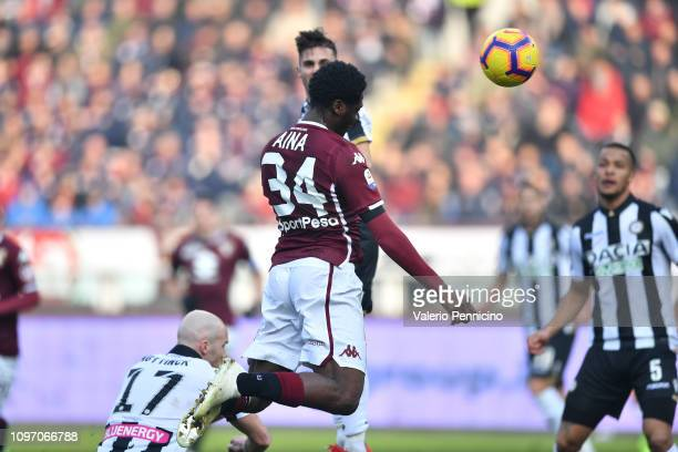 Ola Aina of Torino FC scores the opening goal during the Serie A match between Torino FC and Udinese at Stadio Olimpico di Torino on February 10 2019...