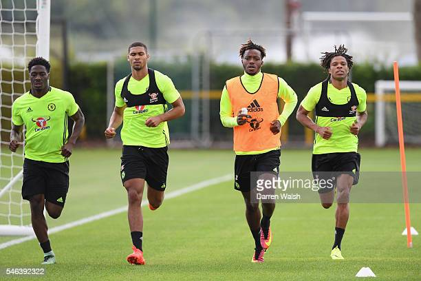 Ola Aina Ruben LoftusCheek Nathaniel Chalobah Loic Remy during a Chelsea training session at Chelsea Training Ground on July 12 2016 in Cobham England