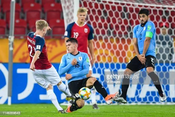 Ola Brynhildsen of Norway U20, Edgar Elizalde of Uruguay U20, Erling Haland of Norway U20, Bruno Mendez of Uruguay U20 during the FIFA U-20 World Cup...
