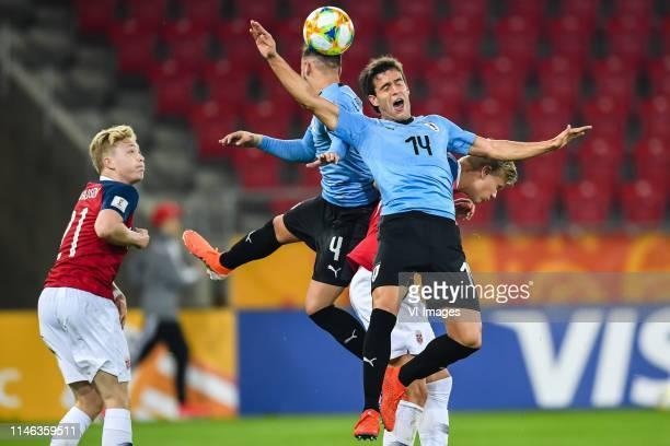 Ola Brynhildsen of Norway U20, Ezequiel Busquets of Uruguay U20, Fransisco Ginella of Uruguay U20, Erling Haland of Norway U20 during the FIFA U-20...