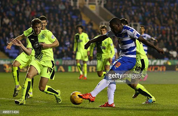 Ola John of Reading scores his team's second goal of the game during the Sky Bet Championship match between Reading and Huddersfield Town on November...