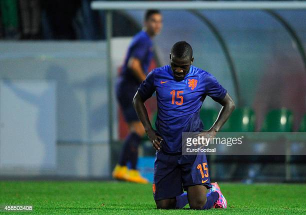 Ola John of the Netherlands in action during the UEFA U21 Championship second leg playoff between Portugal and Netherlands at the Mata Real Stadium...
