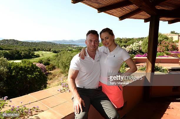 Ola Jordan and James Jordan pose prior to The Costa Smeralda Invitational golf tournament at Pevero Golf Club Costa Smeralda on June 25 2016 in Olbia...