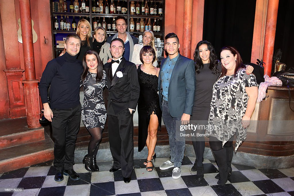 Ola Jordan, Fern Britton, Michael Vaughan, Denise Van Outen, (front row) Pasha Kovalev, Dani Harmer, Vincent Simone, Flavia Cacace, Louis Smith, Karen Hauer and Lisa Rliey attend opening night of 'Midnight Tango' at the Phoenix Theatre on February 4, 2013 in London England.