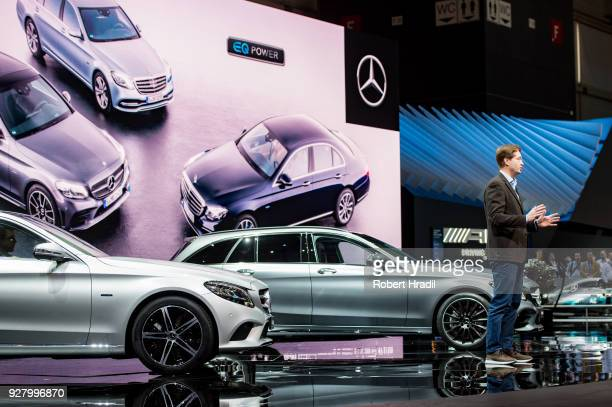 Ola Kallenius Member of the Board of Management of Daimler AG Group Research MercedesBenz Cars Development gives a speech during the Press Conference...