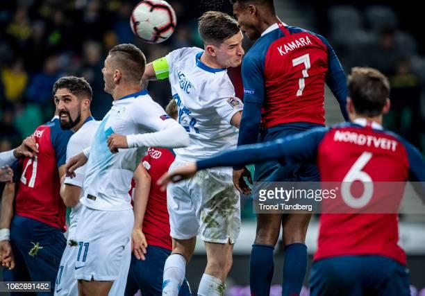 Ola Kamara Havard Nordtveit of Norway Benjamin Verbic Roman Bezjak of Slovenia during the UEFA Nations League C group three match between Slovenia...