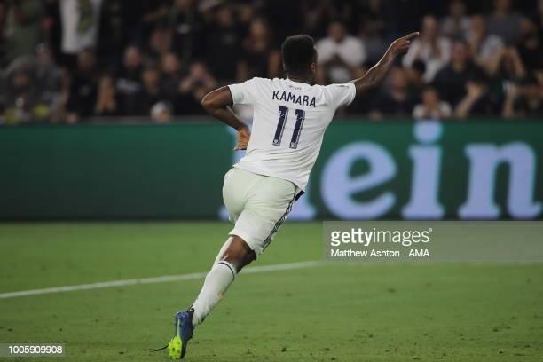Ola Kamara of LA Galaxy celebrates after scoring a goal to make it 2-2 during the MLS match between LAFC and LA Galaxy at Banc of California Stadium...
