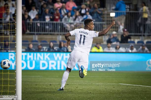 Ola Kamara of LA Galaxy holds up the sign after scoring a goal during the Major League Soccer match between LA Galaxy and Philadelphia Union at Talen...