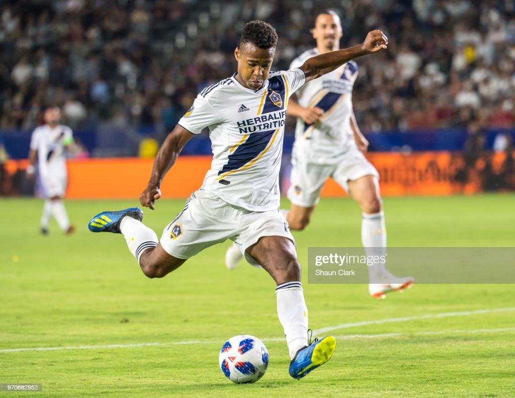 Ola Kamara #11 of Los Angeles Galaxy shoots the ball during the Los Angeles Galaxy's MLS match against FC Dallas at the StubHub Center on June 9, 2018 in Carson, California. Los Angeles Galaxy won the match 3-0